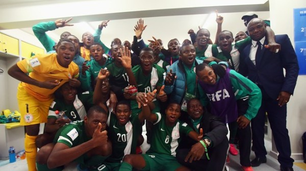 The Golden Eaglets with their coach Amuneke