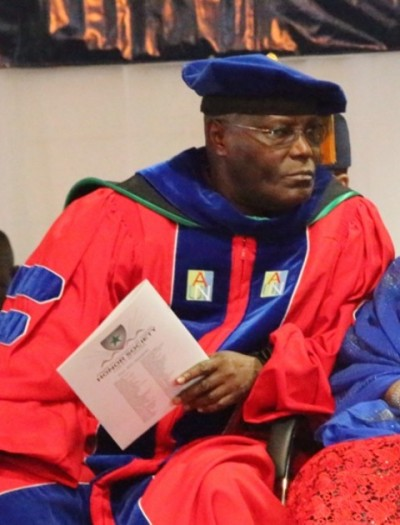 """Atiku Abubakar: """"One of our biggest challenges will be to demonstrate that there is nothing wrong with western ideas, and that western education is good. No culture contains only good aspects or aspects that can all be transplanted elsewhere. We must embrace those elements of Western culture, including Western education that will help us move forward as a society. For instance, education is the key to unlocking opportunity, prosperity, and progress. In Nigeria, education can and should be this key."""""""