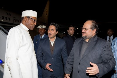 President Buhari being welcomed by the Iranian Deputy President, Mr Shariat Madari, at the Mehrabad Airport Tehran