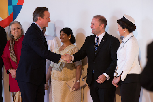 David Cameron, British PM  being received by Muscat