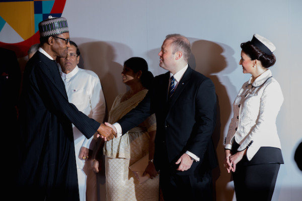Buhari being received by PM Joseph Muscat