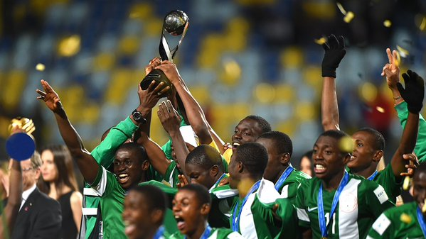 Golden Eaglets with their FIFA trophy