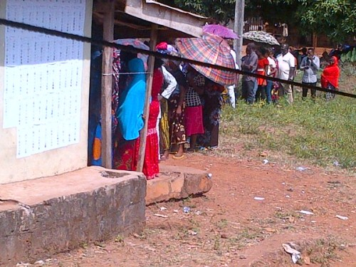 And voters queue to cast ballots
