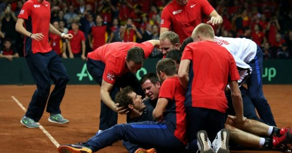 A spell of joy: Andy Murray on the court after defeating Goffin