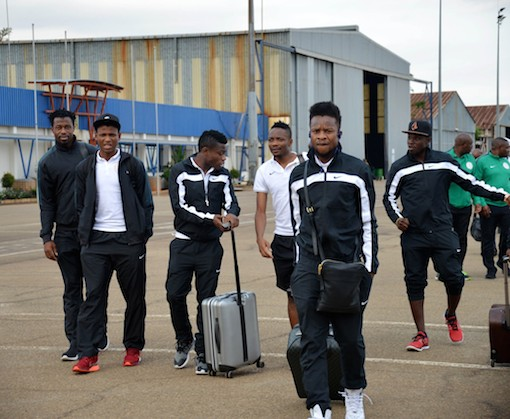 The Super Eagles on arrival in Swaziland