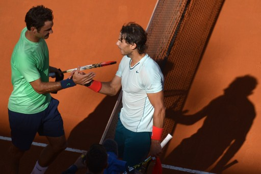 File: Switzerland's Roger Federer  and Nadal at the Rome Masters Final in 2013