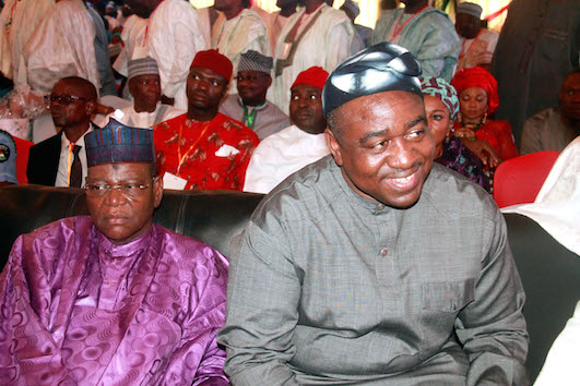 Sule Lamido appears lost in thought here, with ex-governor Gabriel Suswam