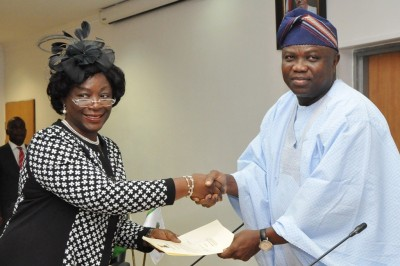 Governor Ambode right and Mrs Ademola during the swearing in ceremony