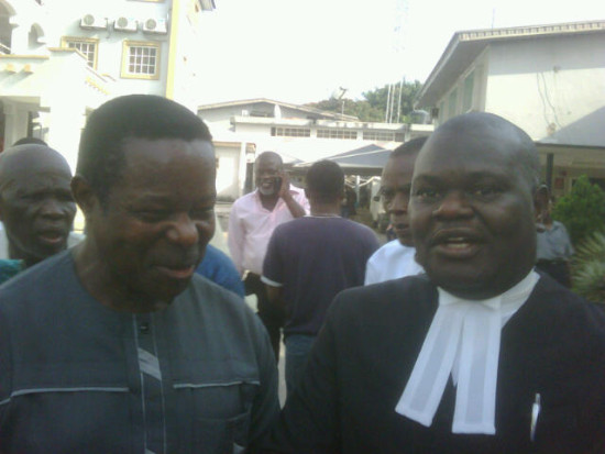 King Sunny Ade, right with his lawyer outside the court today
