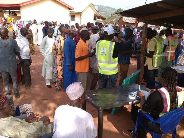 Voters queue for accreditation at Odu Ogboyaga