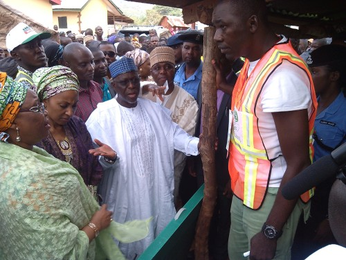Governor Wada, in white, and his wife Halimat, question the electoral officer