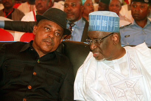 Uche Secondus, former acting chairman and Haliru Mohammed pf PDP