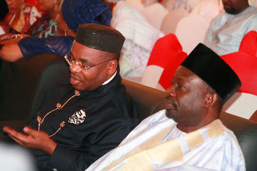 Governor Udom Emmanuel, with another party member