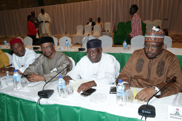 Some of the ministers-designate: Dambazau,(ist right) Ogbeh(2nd right)