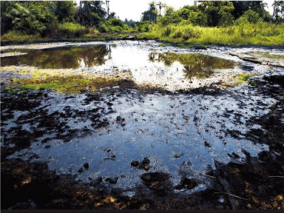 An oil spill site in Niger Delta