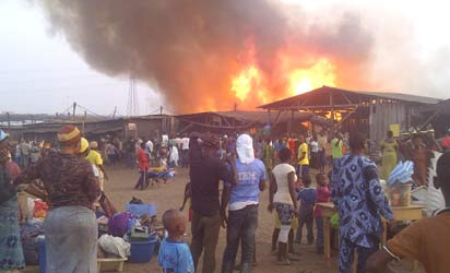 File: Fire at the Oko Baba plank market in january 2013