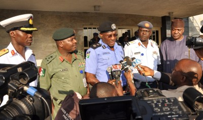 Lagos State Commissioner of Police, Mr. Fatai Owoseni (middle), addressing Government House Correspondents shortly after the State Security Council meeting chaired by Governor Ambode, at the Lagos House, Ikeja, on Tuesday, 3 November 2015. With him are Commander Nigeria Navy Ship Beecroft Apapa, Navy Commodore Abraham Adaji; Commander, 9 Mechanized Brigade, Brigadier General Ahmed Mohammed Sabo; Commander 435 Base Service Group, Ikeja, Air Commodore Danladi Santa Bausa and Director, State Security Service, Mr. Adekunle Ajanaku