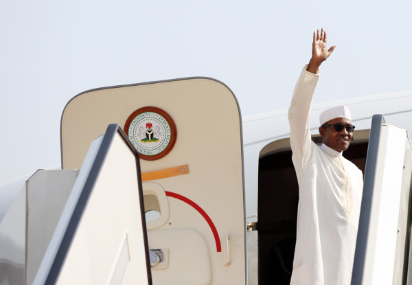 Bye for now: President Buhari waves to officials who saw him off at the Nnamdi Azikiwe International Airport on Sunday. Photo: Sunday Aghaeze