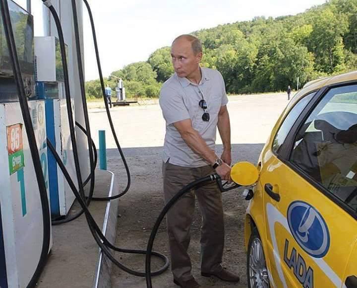 President Vladmir Putin of Russia at the gas pump