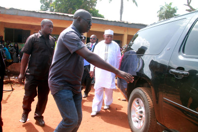 Prince Abubakar Audu on his way out of the polling centre where his cast his vote.