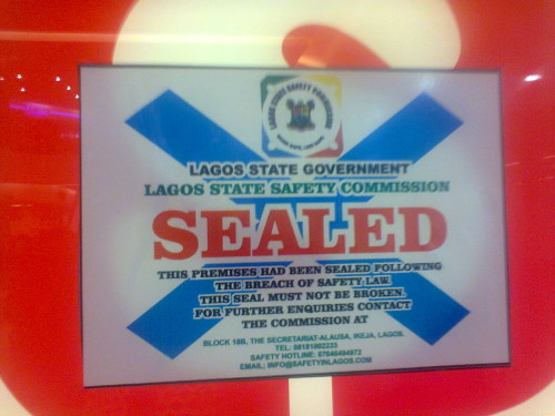 The seal order left by Lagos State Safety agency