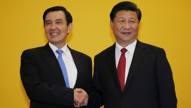 Chinese President Xi Jinping shakes hands with Taiwan's President Ma Ying-jeou. Reuters