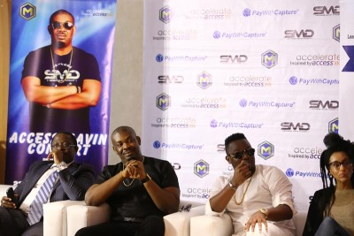Victor Etuokwu, Executive Director, Personal Banking Division with Don Jazzy, Dr. Sid