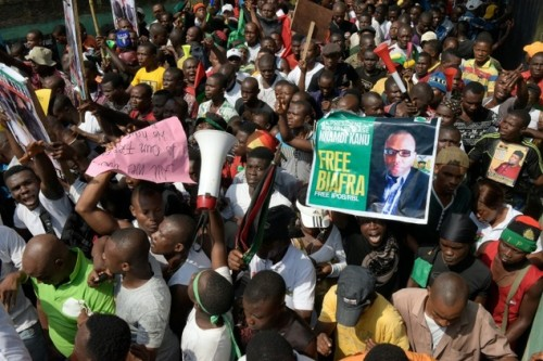 Pro Biafra campaigners on Aba streets today
