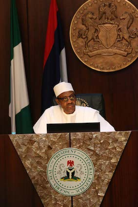 President Buhari at the swearing in ceremony