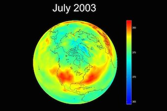 Carbon dioxide levels in 2003