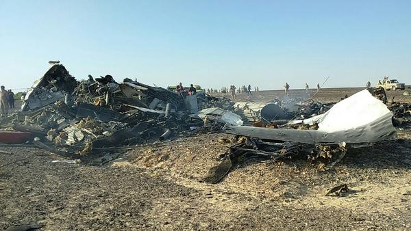 The wreckage of the Russian jet