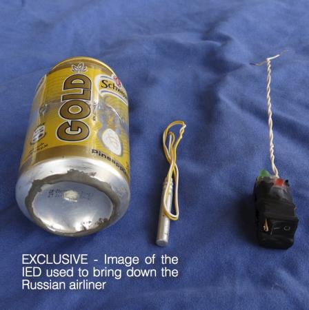 A photo published in Islamic State magazine Dabiq shows a can of Schweppes Gold soft drink and what appeared to be a detonator and switch on a blue background. Social Media
