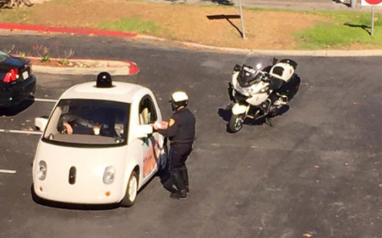 Google driverless car being stopped by a California policeman