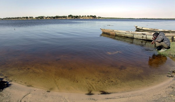 Lake Chad today: it has lost 80 per cent of its water surface, caused by global warming, irrigation and damming of rivers