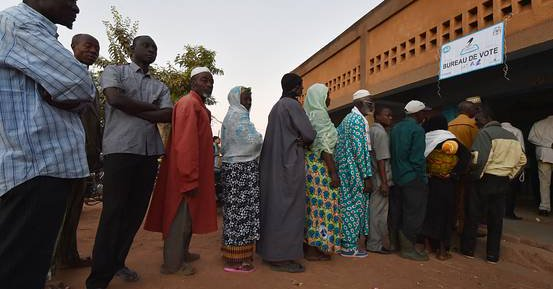 Voters line up in Ouagadougou today