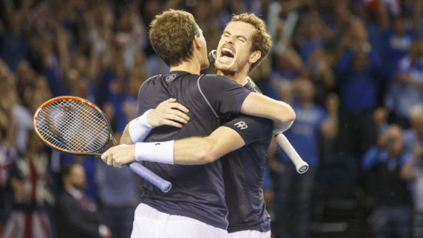 Andy and Jamie Murray after defeating the Belgians