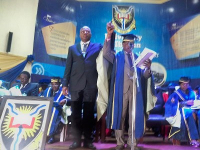 The incoming VC Prof. Abel Idowu  Olayinka being presented to the university community by DVC Administration,  Prof. Aiyelari.