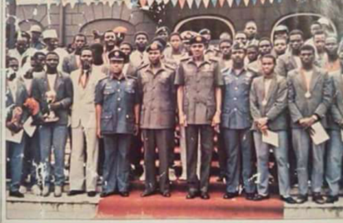 Buhari and Tunde Idiagbon with Eaglets in 1985