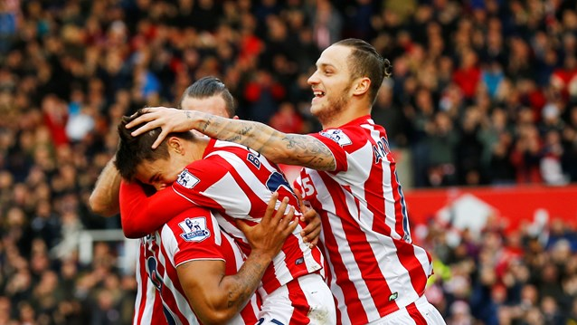 Stoke City players rejoice after beating Man United