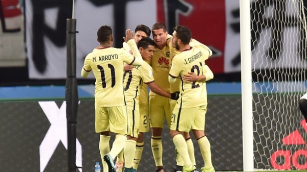 Club America players rejoice after the second goal