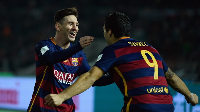 Messi and Suarez rejoice after another goal