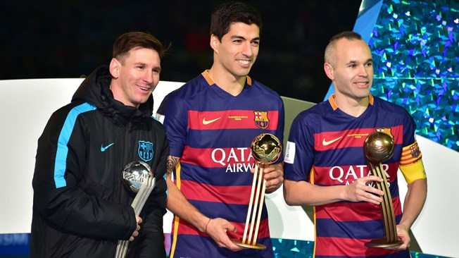 Messi, Suarez and Iniesta, with all their awards
