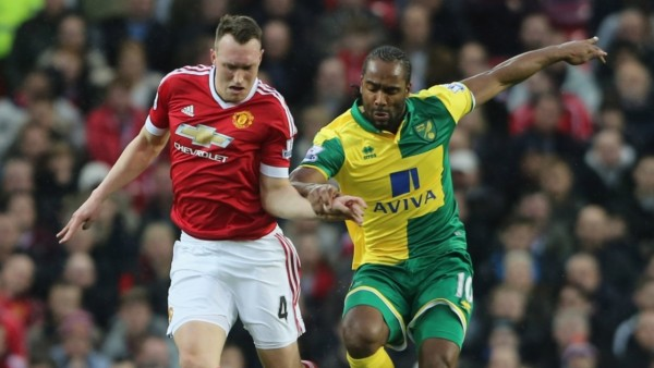 A battle for the ball at Old Trafford