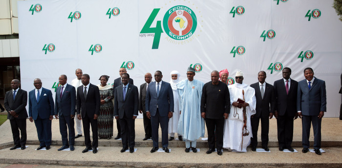 R-L; Ghana President, John Dramani, The Host, President Muhammadu Buhari, President, Republic of CaboVerde,President of Senegal and President of Ecowas, Mr Macky Sall, Vice President of Liberia, President of ECOWAS Commission, Mr Kadre Desire Quedraogo and others  during the group Photo after the opening of the 48th ordinary session of the ECOWAS Authority of Heasds of State and Government held at the Transcorp Hilton Abuja. PHOTO; SUNDAY AGHAEZE. DEC 16 2015
