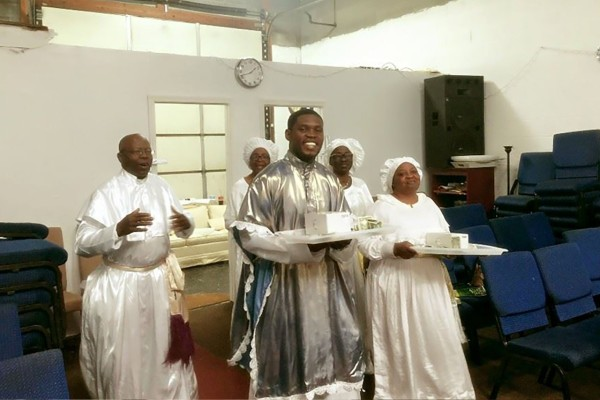 Gabriel Omogbo, in his father's Celestial Church in Maryland, USA