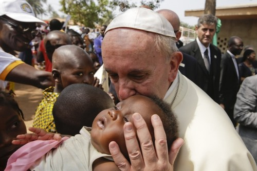 Pope Francis at a refugee camp in Bangui, CAR