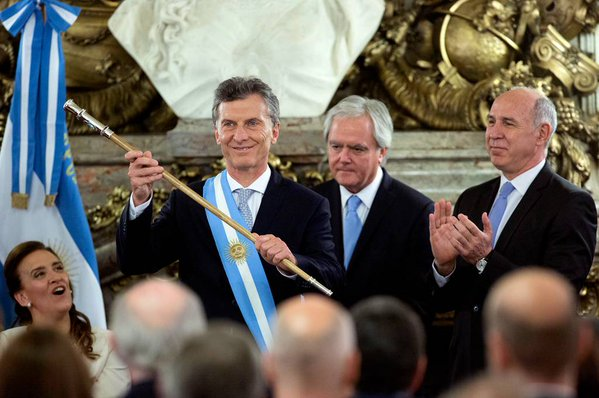 Mauricio Macri after the swearing in ceremony