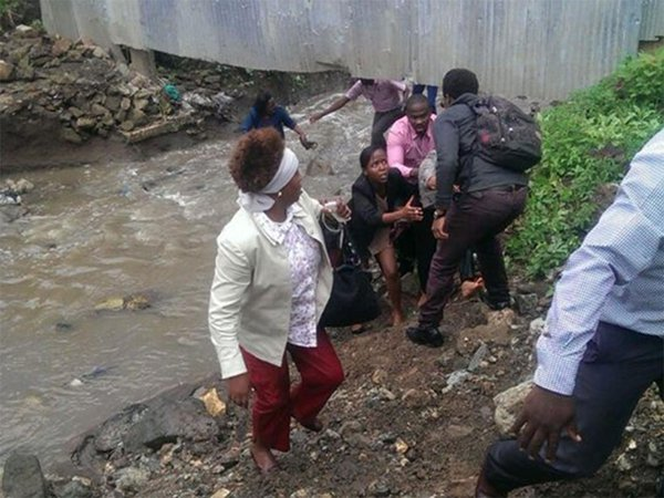 panicky students escape through a stream