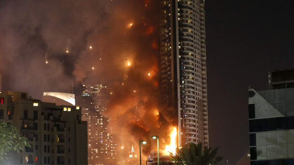 The 63- storey hotel in Dubai on fire