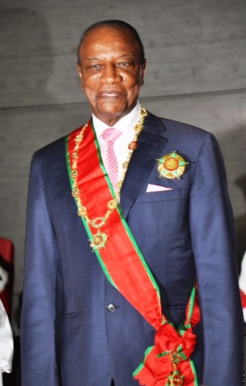 Guinea's Alpha Conde in  ceremonial dress after taking oath of office